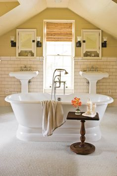 traditional bathroom design with double pedestal sinks and freestanding tub : Traditional Bathroom Design. bathroom design ideas,bathroom design inspiration,bathroom home design,bathroom layout,traditional bathroom design ideas French Bathroom, Small Bathroom, Master Bathrooms, Attic Bathroom, Bathroom Ideas, White Bathrooms, Master Baths, Bathroom Interior, School Bathroom