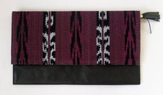 Black Leather and Plum Ikat Clutch