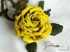millinery LEATHER flower  ROSE yellow    pin brooch hair hat clip fascinator Wedding anniversary gift