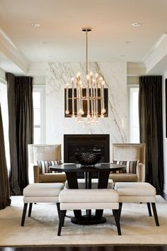 Marble Fireplace, statement lighting, chic chic chic