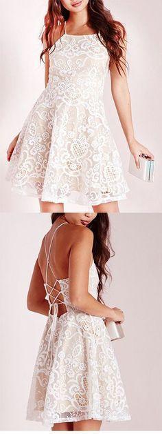 A-line Halter Prom Dress,Short White Criss-Cross Straps Lace Homecoming Dress With Pleats,Graduation Dress,Party Dress,Short/Mini Cocktail Dress,494
