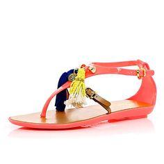 Orange Pacha tassel T bar jelly sandals - River Island {want these!}