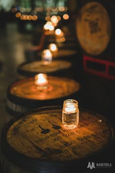 DIY wedding decor Chicago | Revolution Brewery Tap Room wedding Chicago | Mason Jar candles decoration for rustic wedding | For more inspiration visit www.marktrela.com | Photo by Mark Trela Photography