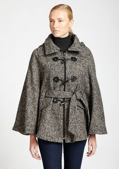 CALVIN KLEIN Mixed Tweed Toggle Cape with Belt