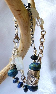 OOAK Artisan sterling and stone WILD HORSE Bracelet by cherrylippedroses, $160.00