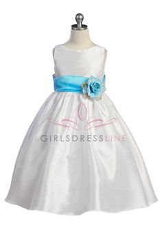 Aqua Flowers and Sash Flower Girl Dress K204-AQ $49.95 on www.GirlsDressLine.Com