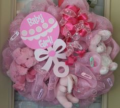 Baby Girl Deco Mesh Wreath by SweetJonesin on Etsy, $75.00