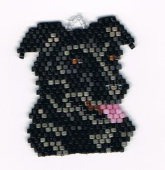 Hand Beaded Black Lab Dog earrings