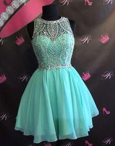 beaded mint green chiffon cheap junior homecoming dress, BD3789