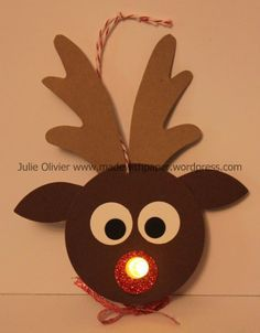 Christmas Crafts reindeer I have another cute craf - christmascrafts Christmas Tea, Christmas Candles, Christmas Crafts For Kids, Christmas Activities, Cute Crafts, Christmas Projects, Holiday Crafts, Reindeer Craft, Reindeer Ornaments
