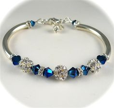 Fireball, Peacock Blue Bracelet, Swarovski Crystal Rhinestone Bracelet, Vintage Style Bangle, Sterling Silver, Bridal Wedding Jewelry. Would be nice with pink instead of blue