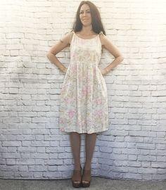 Vintage 80s Cotton Floral Babydoll Tent Sun Dress Tie Straps Hip Pockets Knee Length M L by PopFizzVintage on Etsy
