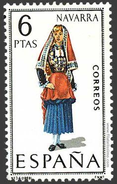 Trajes regionales españoles en sellos NAVARRA