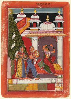 Behag Ragini looking in a mirror, 1680 Rajput (India)