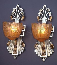 1930s Very Art Deco slip shade wall sconces by Lincoln.