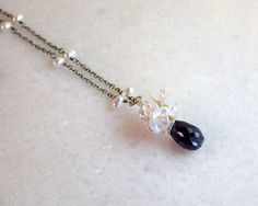 Sapphire & Keshi Pearl Cluster Drop Pendant Necklace- Sterling Wire Wrapped- Wedding- Artisan Handmade Jewelry