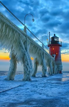 Frozen Lake Michigan ~ one of the five Great Lakes of North America