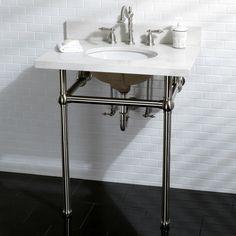 White Quartz 30-inch Wall-mount Pedestal Bathroom Sink Vanity with Metal Stand
