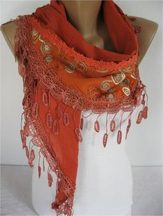 ON SALE  Elegant  Scarf  Cowl with Lace Edge Fashion by MebaDesign, $16.90