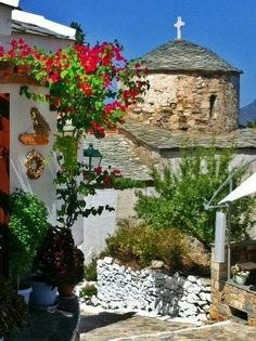 Alonissos, Greece - I love the old town up on the hill,  the houses and the bougainvillea is stunning
