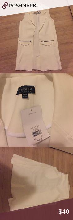 Long vest blazer Top shop BRAND NEW ❤️ off white long blazer size US 4 Topshop Jackets & Coats Vests