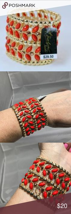 Thalia Sodi Red Stretch Bracelet Brand new with tags missing one Bead shown in picture. Thalia Sodi Jewelry Bracelets