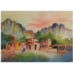 Pre-Owned Adobe Village Watercolor ($189) ❤ liked on Polyvore featuring home, home decor, wall art, multi, watercolor wall art, unframed wall art, water color painting, watercolour painting and watercolor painting