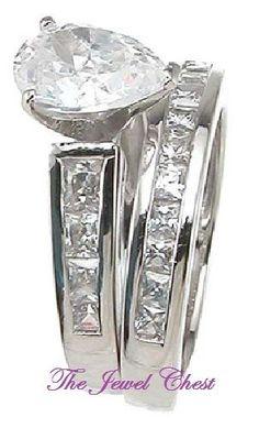 Pear Princess cut Solitaire Diamond Engagement Ring Bridal set White Gold D/VVS1