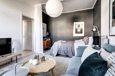 50 Brilliant Studio Apartment Decor Ideas On A Budget. One of the main problems faced by people living in studio apartments is the lack of space, which makes them think that . Small Apartment Bedrooms, Apartment Bedroom Decor, Cozy Apartment, Apartment Interior Design, Small Apartments, Apartment Living, Bedroom Curtains, Bedroom Small, Apartment Curtains