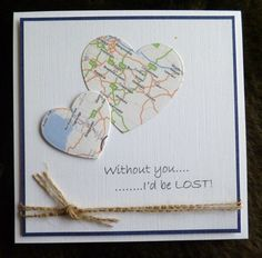 handmade Valentine card ... clean and simple ... two hearts die cut from a map…