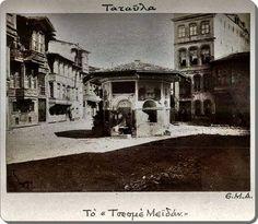 Kurtuluş (Tatavla) Çeşmeli meydan. Şimdiki adıyla Sefa meydanı - 1915 öncesi.