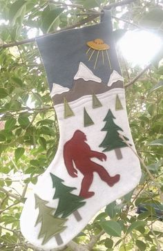 Bigfoot Stocking by PhyllisWonderland on Etsy