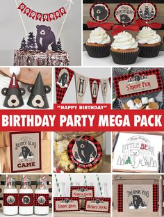 Flannel up for some fun! Everything you need to throw a spectacular baby bear / lumberjack birthday party for your little one. Featuring a baby black bear in a winter woodland with buffalo plaid accents. All files are available for INSTANT DOWNLOAD immediately following purchase. Get started on your DIY party today!