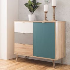 Sorio compact sideboard in sonoma oak and tricolor with 1 door and 3 drawers, practical piece provide a plenty of storage space with an impressive look. In wood oak, grey, white high gloss with led. Diy Home Furniture, Door Furniture, Furniture Makeover, Modern Furniture, Furniture Design, Modern Chest Of Drawers, Dining Room Sideboard, Muebles Living, Sonoma Oak