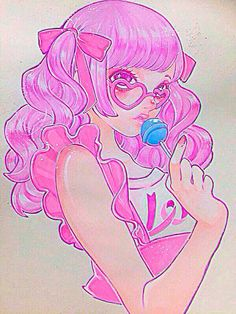 Girl with pink hair & wearing pink heart shaped sunglasses & holding a blue lollipop art Pretty Art, Cute Art, Blue Lollipop, Drawing Poses, Drawing Prompt, Drawing Ideas, Drawing Face Expressions, Pastel Goth Art, Girl With Pink Hair