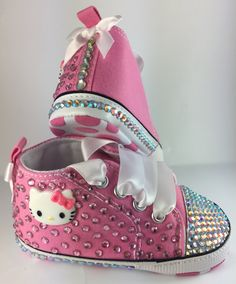 Customised Baby Hot Pink Hello Kitty Crib Shoes by HuggyWuggys on Etsy