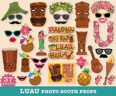 Hawaiian LUAU Photo Booth Props Luau Props por SimplyEverydayMe