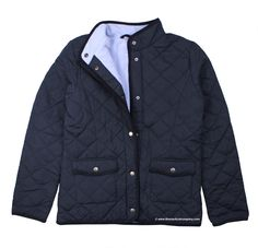 Women's Quilted Jacket, Navy Blue with fleece lining - ideal for cold walks by the beach