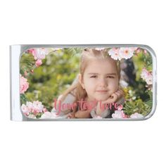 Custom Photo and Text Pink Cherry Blossoms Border Silver Finish Money Clip - photo gifts cyo photos personalize