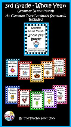 Covers all Third Grade Common Core language standards from August to May for the whole year! Thematic topics tie into each month's holidays and historical events. A fun way to learn grammar! $