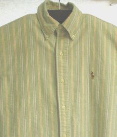 """This is a size 15 1/2 men's long sleeve button front shirt from Ralph Lauren (black label, classic fit), featuring vertical stripes in aqua, blue, white purple, and pink. 31"""" from the shoulder at the collar to the bottom of the hem, 24.5"""" across the chest at the armpits, sleeves 23"""" from the seam at the shoulder to the end of the cuff, weighs 12 ounces. 