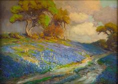 Late Afternoon in the Bluebonnets, S. W. Texas Artist: Robert Julian Onderdonk Completion Date: 1913 Style: Impressionism Genre: landscape Tags: roads-and-vehicles, forests-and-trees