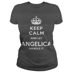 (Deal Tshirt 3 hour) ANGELICA IS HERE. KEEP CALM [Tshirt design] T Shirts, Hoodies. Get it now ==► https://www.sunfrog.com/Names/ANGELICA-IS-HERE-KEEP-CALM-Dark-Grey-Ladies.html?57074