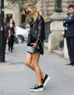 Minimal + Classic | Leather moto jacket | Stella McCartney platform shoes | Street Style.