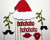 Christmas Photo Booth Props - 9 Piece - Holiday Party