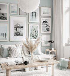 Mindfulness gallery wall nature posters light blue beige interior oak frames - Gallery wall inspiration - Posterstore.co.uk Boho Living Room, Home And Living, Living Room Decor, Beige Living Rooms, Room Interior, Interior Design Living Room, Living Room Designs, Interior Ideas, Inspiration Wall