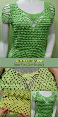 This time you could see how to crochet adorable blouse in green colour. The spring and summer season are good occasion to change the clothes in your wardrobe. Inexperienced Summer season Shirt Free Crochet Sample and Video Tutorial This post was discovere Blouse Au Crochet, Débardeurs Au Crochet, Crochet Shrug Pattern, Mode Crochet, Black Crochet Dress, Crochet Shirt, Crochet Patterns, Free Pattern, Dress Patterns