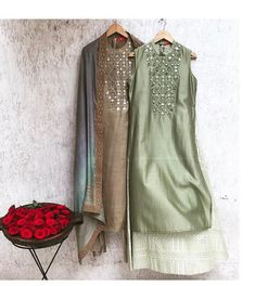 Beautiful Chanderi Kurtis with traditional embroidery embellishments. Ethnic Outfits, Indian Outfits, Fashion Outfits, Womens Fashion, Fashion Wear, Kurta Designs Women, Blouse Designs, Indian Attire, Indian Wear