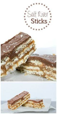 These bars have all the right flavors with graham crackers, butter, chocolate, and salty crackers! Salt River Sticks.