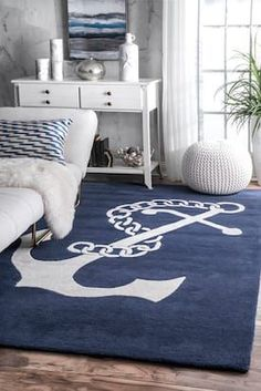 Tuscan Nautical Anchor Navy Rug - Rugs USA Navy Tuscan Nautical Anchor rug – Coastal Rectangle x La mejor imagen sobre di - Nautical Rugs, Coastal Rugs, Coastal Bedrooms, Coastal Decor, Nautical Anchor, Trendy Bedroom, Nautical Theme, Nautical Home Decorating, Decorating Your Home
